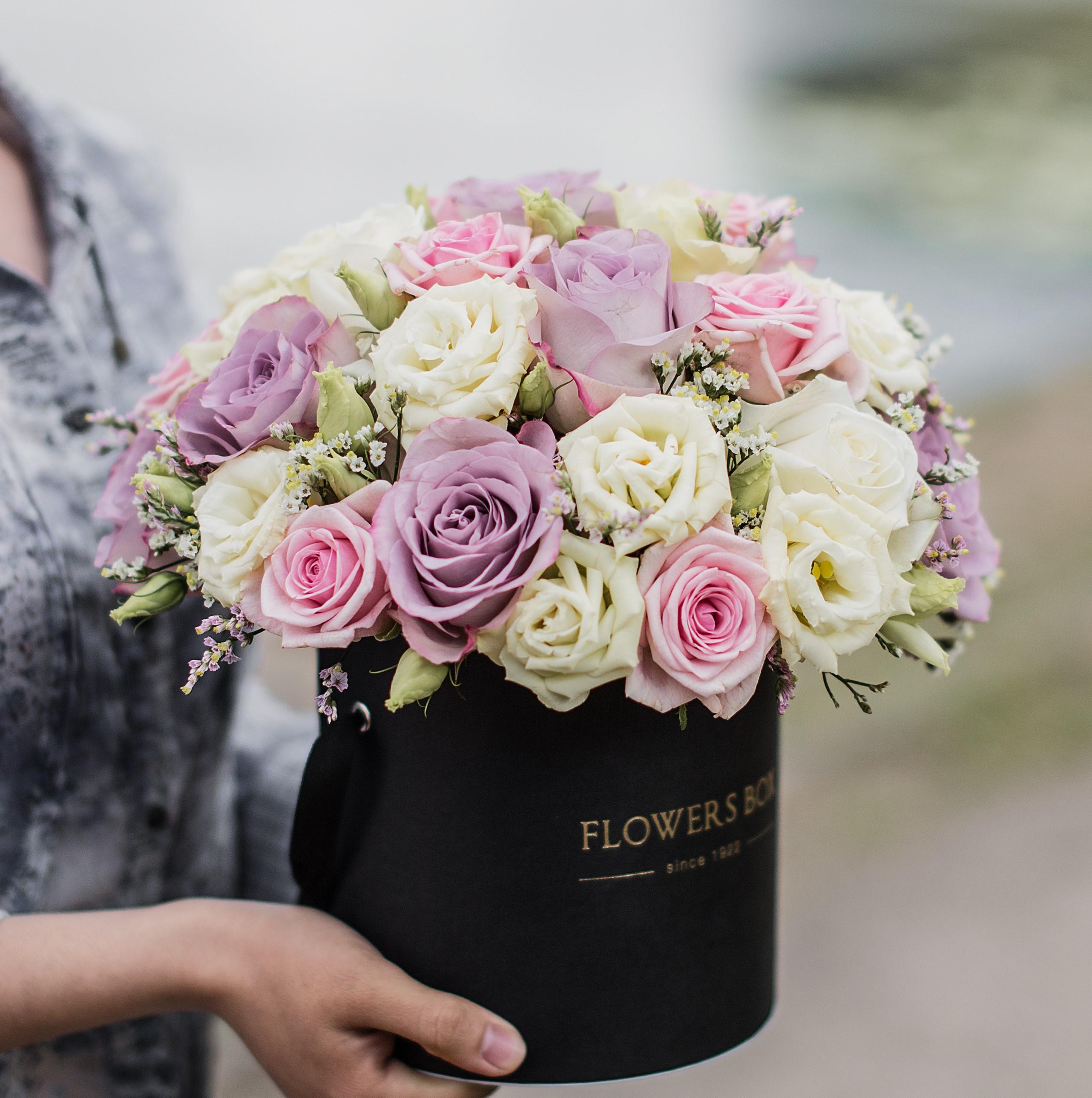 Vintage Flower Arrangement In The Box Pastel Colors Arrangement